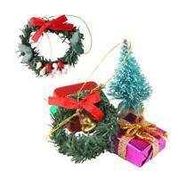 Dollhouse Miniature Decor 20PC Christmas Wreath Tree Photography Props