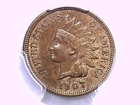 1907 Indian Head Cent PCGS MS 62 BN 80472753