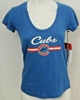 NEW Chicago Cubs MLB Soft As A Grape Heathered SS U-Neck Tee Shirt Women's M