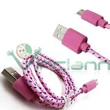 Cavo dati Tessuto Nylon ROSA per Samsung Galaxy Note 2 N7100 cavetto USB
