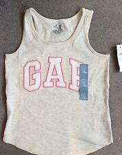 BABY GAP LIGHT GREY VEST TOP WITH WHITE LOGO EDGED IN PINK - 5y BNWT