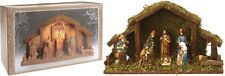 Christmas Nativity Scene with Lighting Stable Setting with 8 Ceramic Figurines
