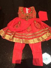 "16"" Age 6 Months Fancy Kids Girls Party Dress Bollywood Salwar Kameez Indian"