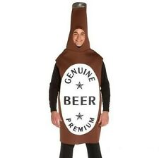 Beer Bottle Fancy Dress Costume Padded Outfit Suit Brown New