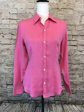 Ralph Lauren Size 8 Black Label Pink 100% Linen Button Down Shirt