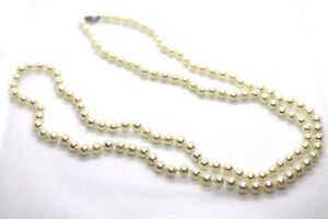 Vintage NATURAL White 6mm Saltwater Pearl 10K White Gold Necklace Strand 32in