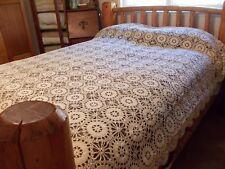 Vintage Ecru Crochet Wheel Canopy Tablecloth Bedspread Queen Full Twin 100x86