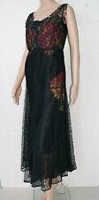 Vintage 20's Flapper Gatsby Black Silk Lace Dress W/ Flower Applique  - Size S