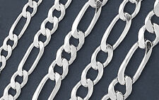 925 Solid Silver FIGARO Chain Necklace/Bracelet-Italian 925 Solid Sterling