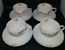 AURORA NEW BONE CHINA SET OF FOUR ( 4 ) CUP AND SAUCER PINK FLOWERS & BRANCHES