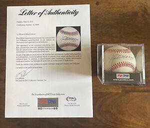 Joe DiMaggio Signed Autographed OAL Baseball PSA COA Rawlings