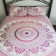 Indian Mandala Two Pillow Cover Duvet Cover Queen Ethnic Handmade Cotton Bedding