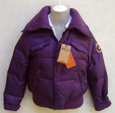 Womens Ruff Hewn Down Zip Snap Coat Jacket Bomber Shearling Quilted Small Purple