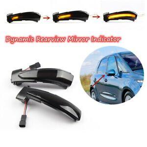 2x Dynamic Side Mirror Lamp Turn Signal Blinker Light For Peugeot Citroen DS5 C4