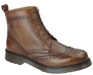 GRAFTERS BROGUE LACE UP GENTS LEATHER BOOTS NEW AIR CUSHIONED SOLE MENS