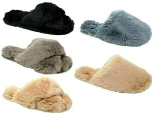 LADIES FLUFFY SLIPPERS WOMENS OPEN TOE FAUX FUR CROSS OVER MULES SHOE SIZES  3-8