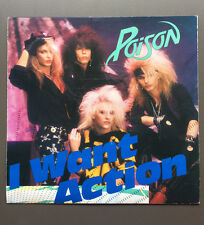 "POISON - I Want Action 7"" Vinyl Record VG 1986 With Foldout Poster Bret Michaels"