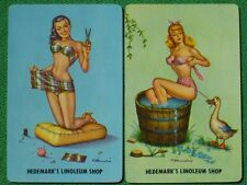 Pinup Girl Art Beauty Tailors Swimsuit & Bathes In Wooden Tub Old Playing Cards!
