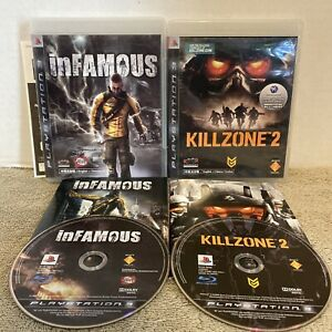 Infamous & Killzone 2 PS3 English & Chinese Version Imports Complete Tested RARE