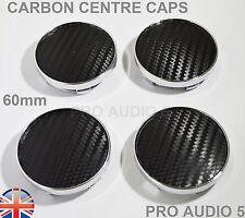 4x 60mm Negro Carbón Centro De Rueda Tapacubos Universal VW AUDI SEAT SKODA UK Post