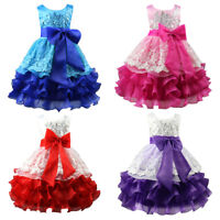 Girls Formal Party Wedding Bridesmaid Flower Princess Sleeveless Sequinned Dress