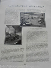 1929 AGRICOLTURA MECCANICA TRATTORI EPOCA DISSODAMENTO TERRENO CON ESPLOSIVI