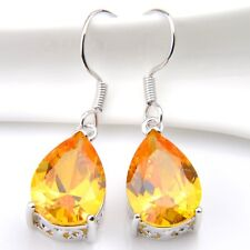 Water drop Style Genuine Yellow Citrine Gemstone Silver Dangle Hook Earrings New