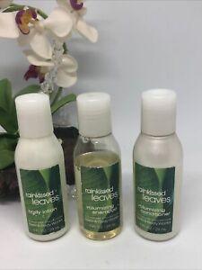 3x Bath & Body Works Rainkissed Leaves Travel Size Toiletries - Shampoo~Lotion