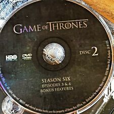 Game of Thrones Season 6 SIX disc 2 Replacement Disc DVD ONLY