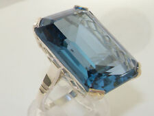 UK Hallmarked Solid Sterling Silver Huge Emerald cut Synthetic Aquamarine Ring