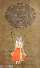 Royal Rajput Queen Paper Painting antique art stamp Antique ethnic Traditional