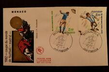 MONACO PREMIER JOUR FDC YVERT 1313/14      COUPE FOOTBALL       3+2F      1982