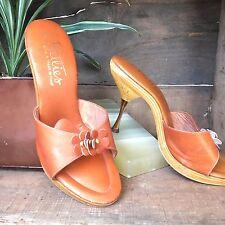 Vintage 70s Deadstock Heels   Wood And Leather Heels   Daisy Heels   Size 6.5