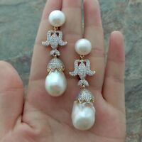 15x24MM White Keshi Pearl CZ Pave Yellow Gold Plated Earrings