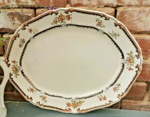 BARKER AND SONS? ANTIQUE PLATTER LOWESTOFT PATTERN DATING 1860S GOOD CONDITIO