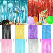 2m Shiny Foil Fringe Tinsel Curtain Birthday Backdrop Wedding Party Decor