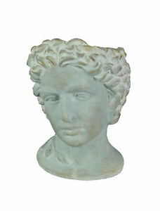 Distressed Cement Classic Greek Warrior Bust Indoor/Outdoor Head Planter