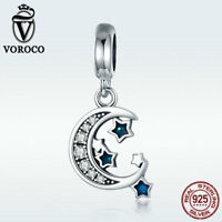 Voroco New Moon & Blue Star Pendant 925 Sterling Silver Charm Bead Hot For Chain