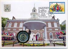 Vaticano 2015 enumeratori. NUMISBRIEF con 2 € euro GM mondo riunione familiare Philadelphia