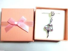 Dancer Ballerina Ballet Pink Crystal Pendant Necklace Gift boxed Birthday