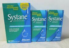 2 Bottles Alcon Systane Lubricant Eye Drops 1/2oz Ea & 1 Box 30 Sterile Vials