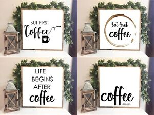 but first COFFEE - Farmhouse Style Family sign Home Decor Print 20 x 20 cm