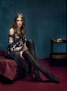 FIORE Nite Nite Luxury 60 Denier Satin Gloss 3D Patterned Knee Highs