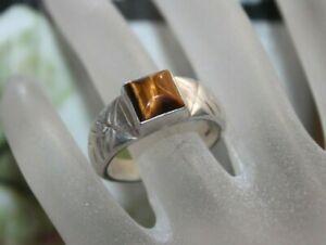 12.6g Vintage Men's Sterling Silver Tiger Eye Band Ring 11 3/4