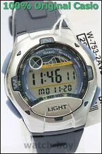 Casio W-753-2av Moon Tide Graph Watch 10 Year Battery 4 Alarms 100m WR