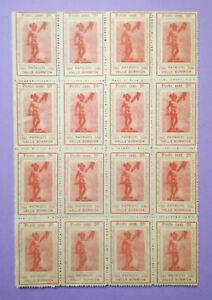 Foglio 16 Francobolli PATRIOTI VALLE BORMIDA 1943-1945 Cent.20 resistenza filate