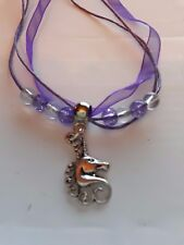 "Girls Purple  Organza, 18 "" Wax Necklace , Crackle Beads,  Unicorn  Charm Gift"