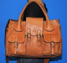 CHLOÉ Whiskey Brown Leather EDITH Pocket Satchel Tote Carryall Bag ITALY $1785