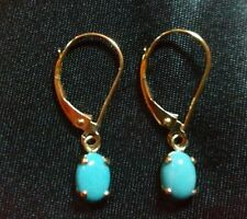Leverback Turquoise Yellow Gold Fine Earrings