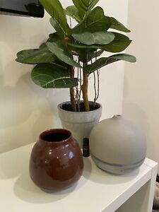 Crate and Barrel Pottery Vase Burgundy